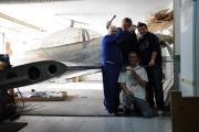 <p>The picture is just after the first wings installation and incidence adjustment. From left to right, Fernando, Javier and Andrés (Javier´s son). The settings proved to be right and the airplane flew straight since the first flight. </p>