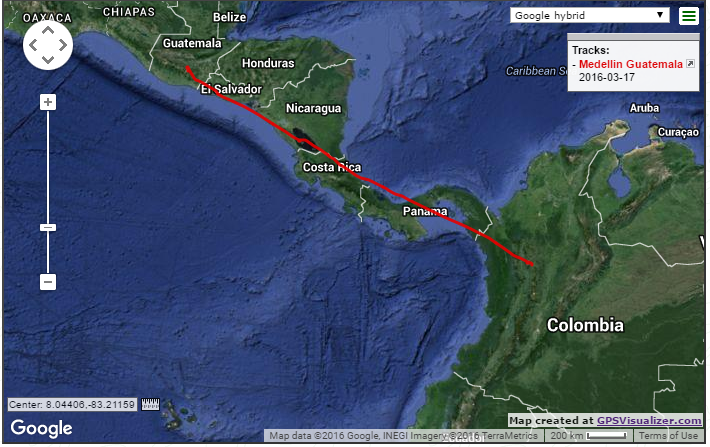 Track from Medellin to Guatemala