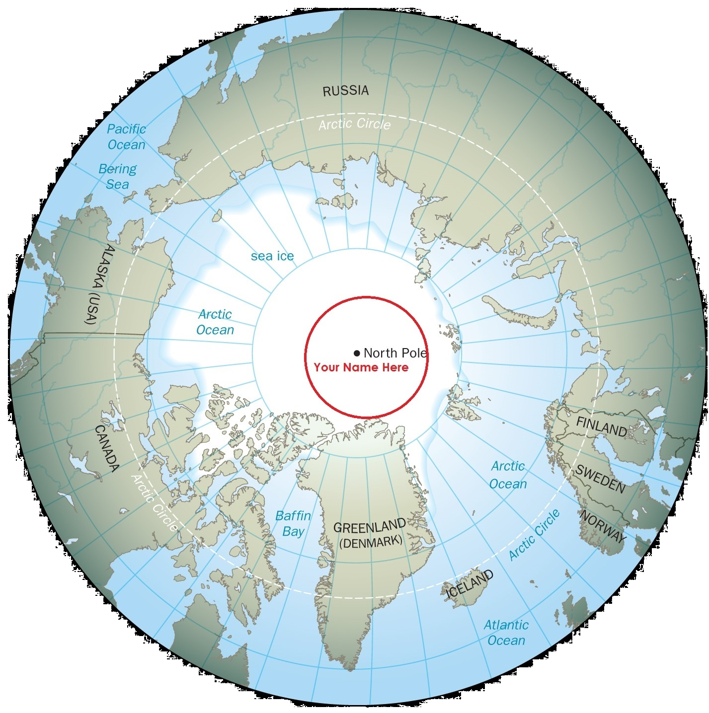 Sky Polaris  Blog Archive  North Pole Arctic Globe Map
